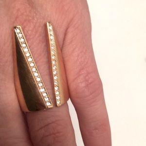 🔥 Bling! CC SKYE Diamond Gold Plated V Ring! 🔥